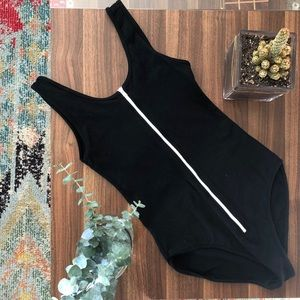 American Apparel Zippered Black Bodysuit